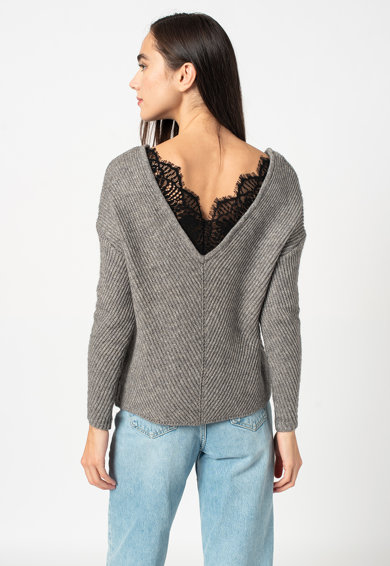 Vero Moda Buena gyapjútartalmú pulóver csipkeszegéllyel női