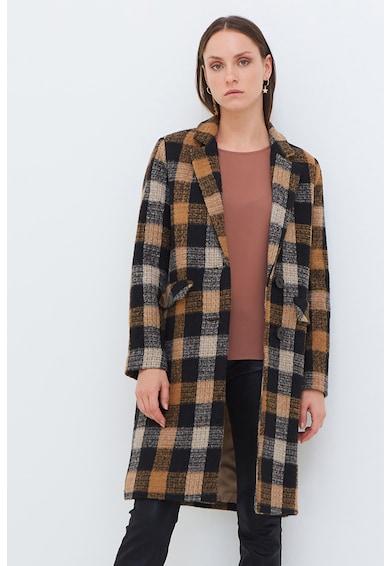 Motivi Palton din amestec de lana cu imprimeu in carouri si revere decupate Femei