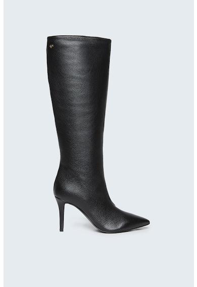 Motivi Cizme de piele lungi pana la genunchi cu varf ascutit Femei