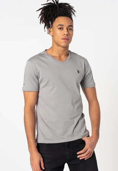 U.S. Polo Assn. Tricou slim fit cu decolteu in V Barbati