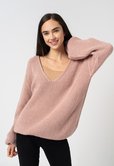 NA-KD Bő fazonú V-nyakú pulóver női