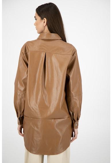 Missguided Camasa lunga de piele ecologica, cu model supradimensionat Femei