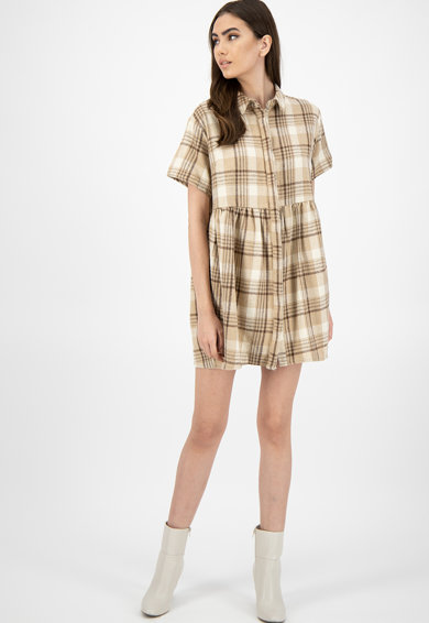 Missguided Rochie mini tip camasa supradimensionata, cu model in carouri Femei