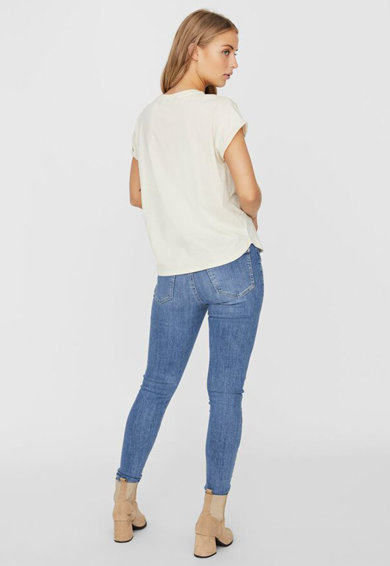 Vero Moda Tricou din bumbac organic cu imprimeu pe piept Venjaava Femei