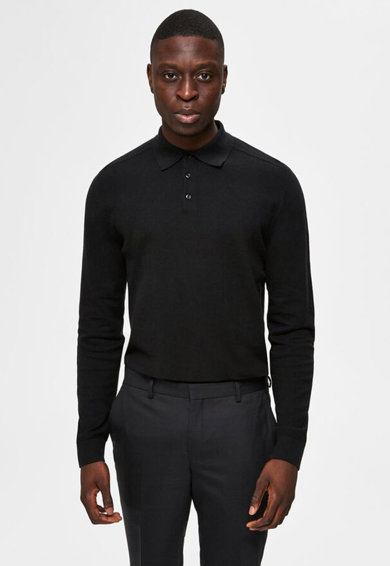 Selected Homme Pulover polo tricotat fin Barbati