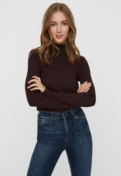 Vero Moda Pulover din amestec de bumbac organic tricotat fin cu guler inalt Femei