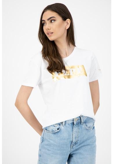 Pepe Jeans London Tricou cu decolteu la baza gatului si imprimeu logo Femei