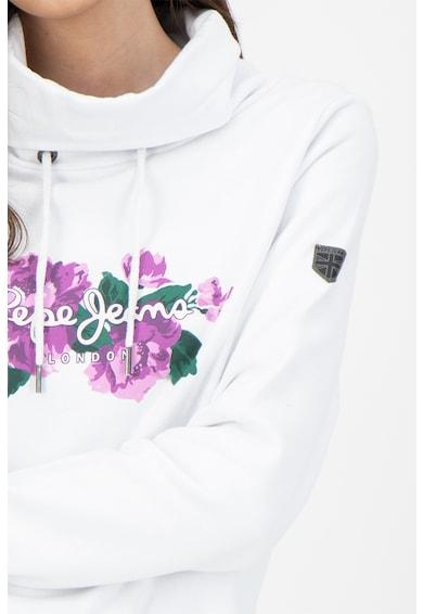 Pepe Jeans London Bluza sport cu guler inalt si imprimeu grafic si logo Femei