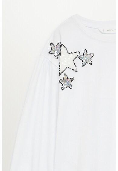 Mango Estrella kerek nyakú blúz flitterekkel és gyöngyös rátétekkel Lány