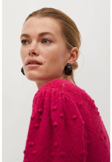 Mango Boliche kerek nyakú pulóver domború kötött részletekkel női