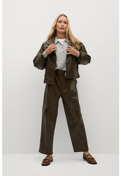 Mango Wild kényelmes fazonú műbőr nadrág női
