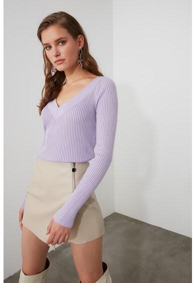 Trendyol Bordázott V-nyakú pulóver női