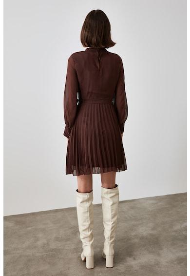 Trendyol Pliszírozott miniruha áttetsző ujjakkal női