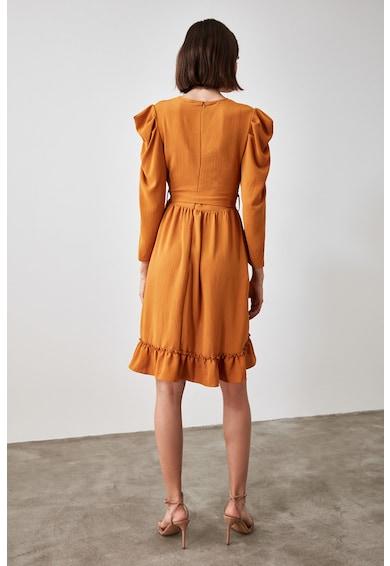 Trendyol Átlapolt fazonú ruha fodros részletekkel női