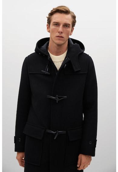 Mango Faro gyapjútartalmú kapucnis kabát férfi