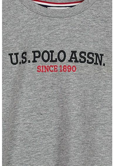 U.S. Polo Assn. Bluza cu decolteu la baza gatului si imprimeu logo Baieti
