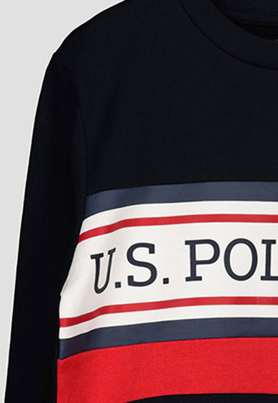 U.S. Polo Assn. Logós pamutpulóver Fiú