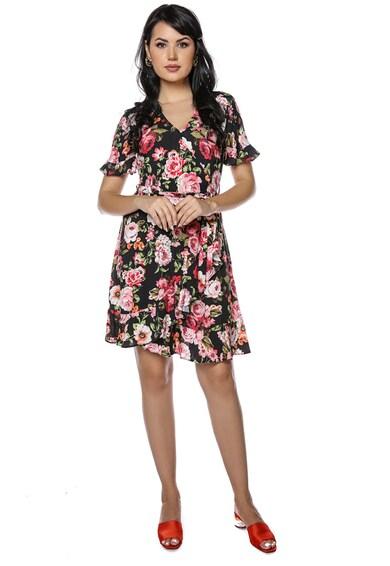 Miss One Virágmintás V-nyakú miniruha női
