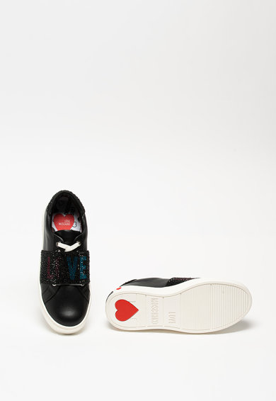 Love Moschino Pantofi sport din piele cu aplicatii cu strasuri Femei