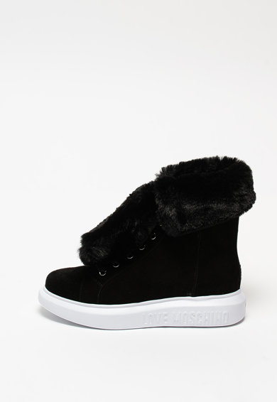 Love Moschino Pantofi sport din piele intoarsa cu talpa wedge ascunsa si garnitura din blana sintetica Femei