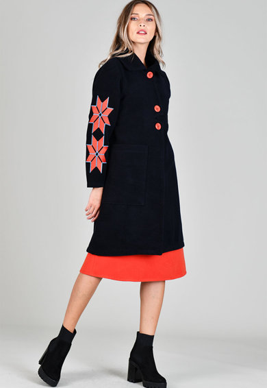 Format Lady Palton din amestec de lana cu croiala in A si motive etnice Femei