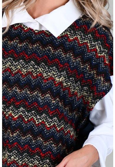 Format Lady Poncho tip tabard din amestec de lana cu model chevron Femei