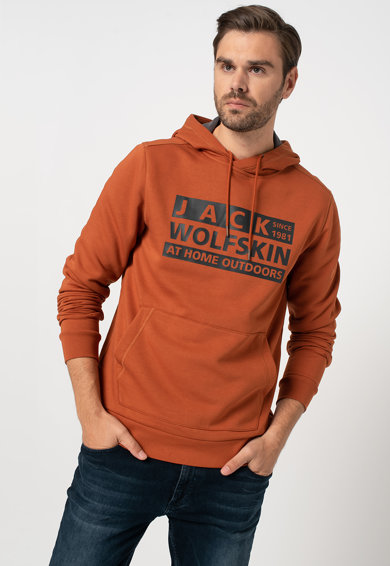 Jack Wolfskin Brand kapucnis pulóver kenguruzsebbel férfi