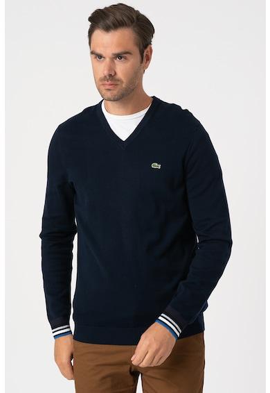 Lacoste V-nyakú finomkötött pulóver férfi