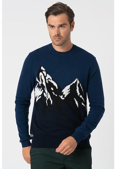 Lacoste Gyapjútartalmú finomkötött mintás pulóver férfi