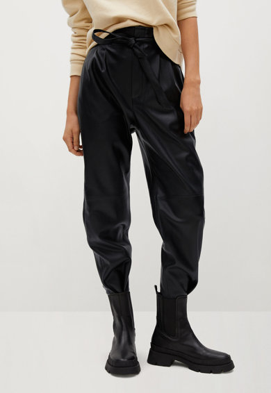 Mango Plum műbőr nadrág megkötővel női