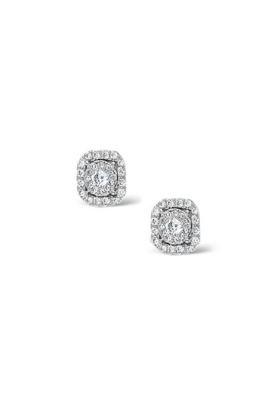 Dhamont Cercei din aur alb de 18K decorati cu 26 de diamante Femei