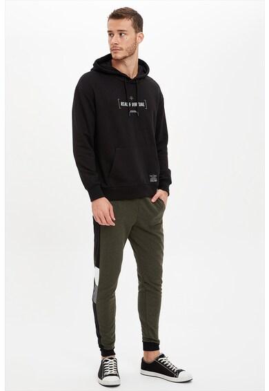 DeFacto Feliratos bő fazonú kapucnis pulóver férfi