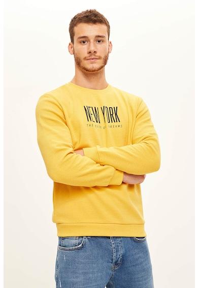 DeFacto Szűk fazonú feliratos pulóver férfi