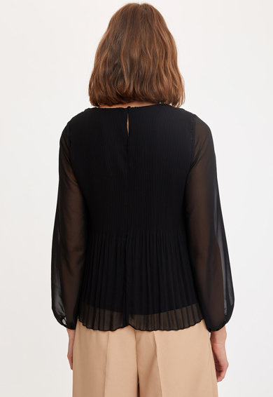 DeFacto Áttetsző blúz pliszírozott alsó szegéllyel női