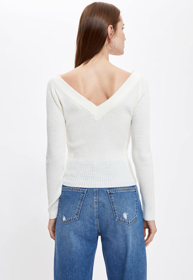 DeFacto V-nyakú bordázott pulóver női