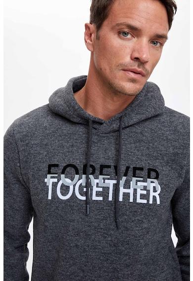 DeFacto Kapucnis pulóver feliratos mintával férfi