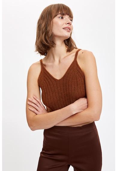 DeFacto V-nyakú kötött hatású top női