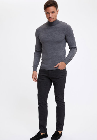 DeFacto Pamuttartalmú slim fit nadrág férfi