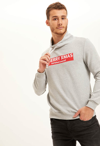 DeFacto Kámzsanyakú pulóver feliratos mintával férfi