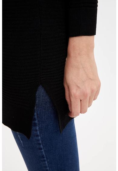 DeFacto Pulover lung cu aspect striat si slituri laterale Femei