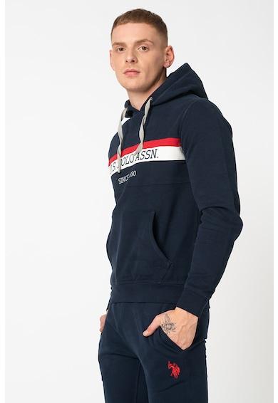 U.S. Polo Assn. Tricolor logós kapucnis pulóver csíkos mintával férfi