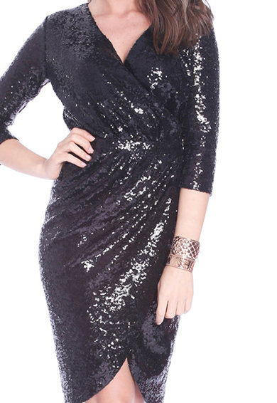 Roserry Átlapolós ruha flitteres dizájnnal és háromnegyedes ujjakkal női