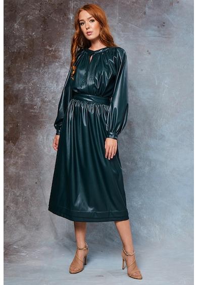 MIAU by Clara Rotescu Emerald műbőr midiruha női