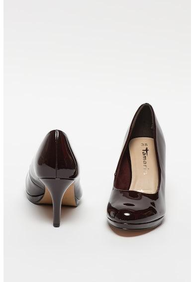 Tamaris Magas sarkú lakkozott bőrcipő női