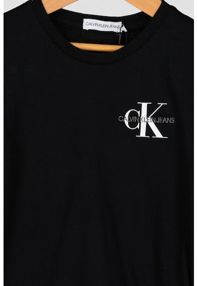 CALVIN KLEIN Szűk fazonú organikuspamut póló logós részletekkel Lány