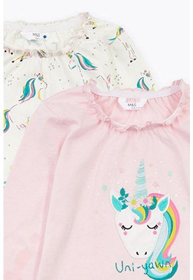 Marks & Spencer Set de pijamale cu imprimeu cu unicorn - 2 perechi Fete