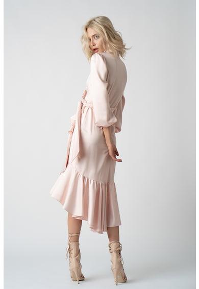 Monarh Átlapolós midi selyem hatású ruha fodrokkal női