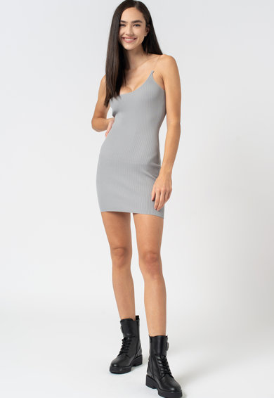 Missguided Bordázott bodycon miniruha átlátszó ujjakkal női