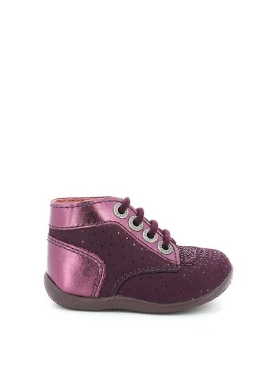 Kickers kids Pantofi din piele nabuc cu garnituri metalizate Fete