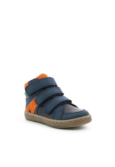 Kickers kids Pantofi sport de piele ecologica cu velcro si detalii perforate Baieti